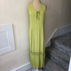 Johnny Was Collection Peasant Lace Up Maxi Dress